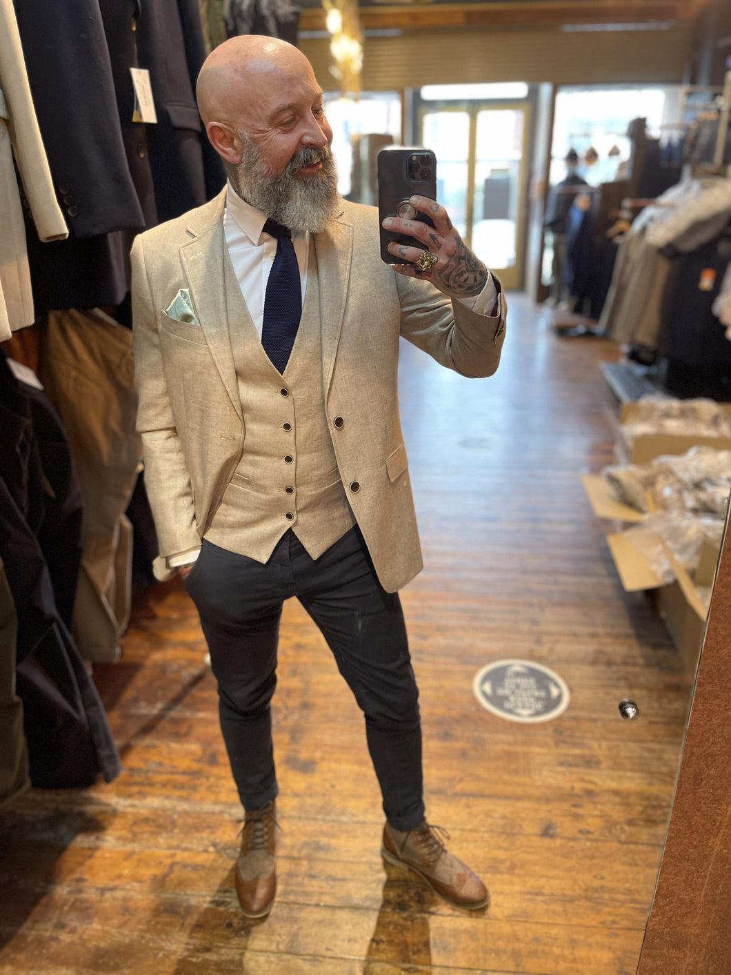 Stone Blazer & Waistcoat With Navy Chinos Look skopes-lagasse-stone-linen-blazer / skopes-lagasse-stone-linen-waistcoat / skopes-plain-white-tailored-fit-shirt