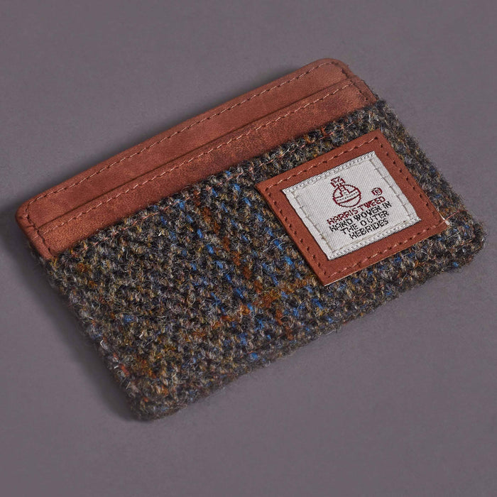 Tan, Brown & Blue Tweed Credit Card Holder With Tan Leather