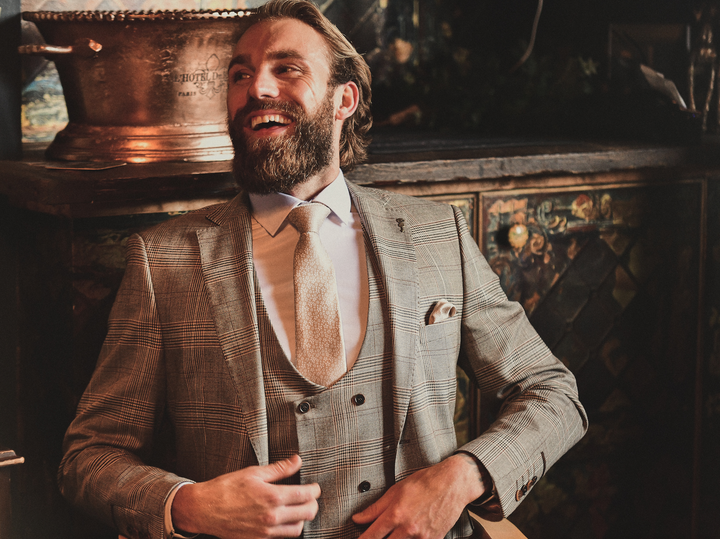 Terry 3 Piece Tan Check Look fratelli-tan-prince-of-wales-check-blazer / fratelli-tan-prince-of-wales-check-waistcoat / fratelli-tan-prince-of-wales-check-trousers