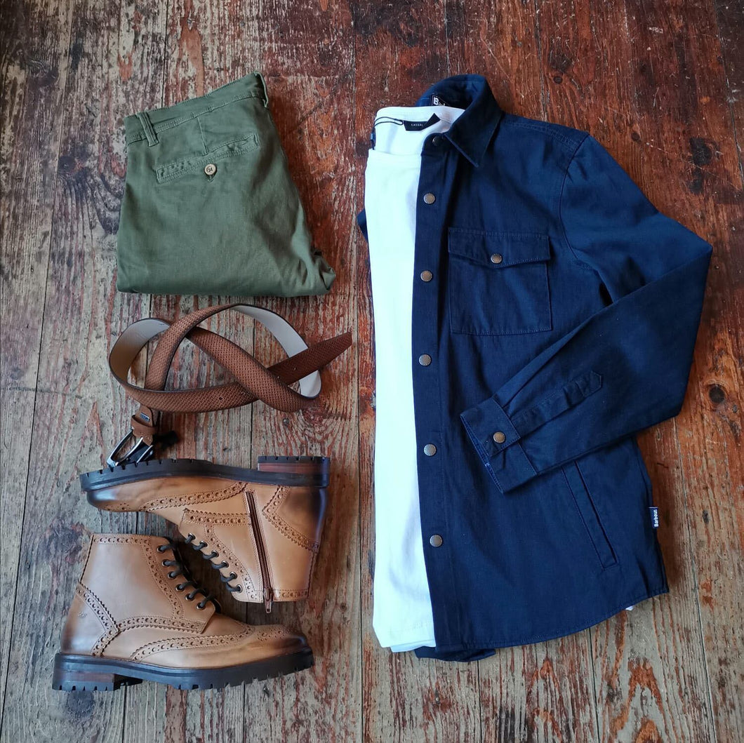 The Perfect Day - Night Outfit barbour-mortan-inky-blue-overshirt / casual-friday-white-crew-neck-cotton-t-shirt / blend-olive-chinos