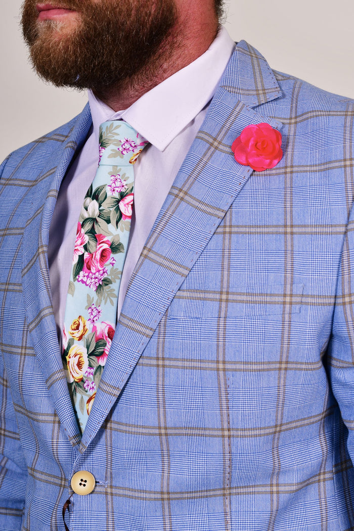 Turquoise Liberty Print Tie & Pink Lapel Pin Set Turquoise