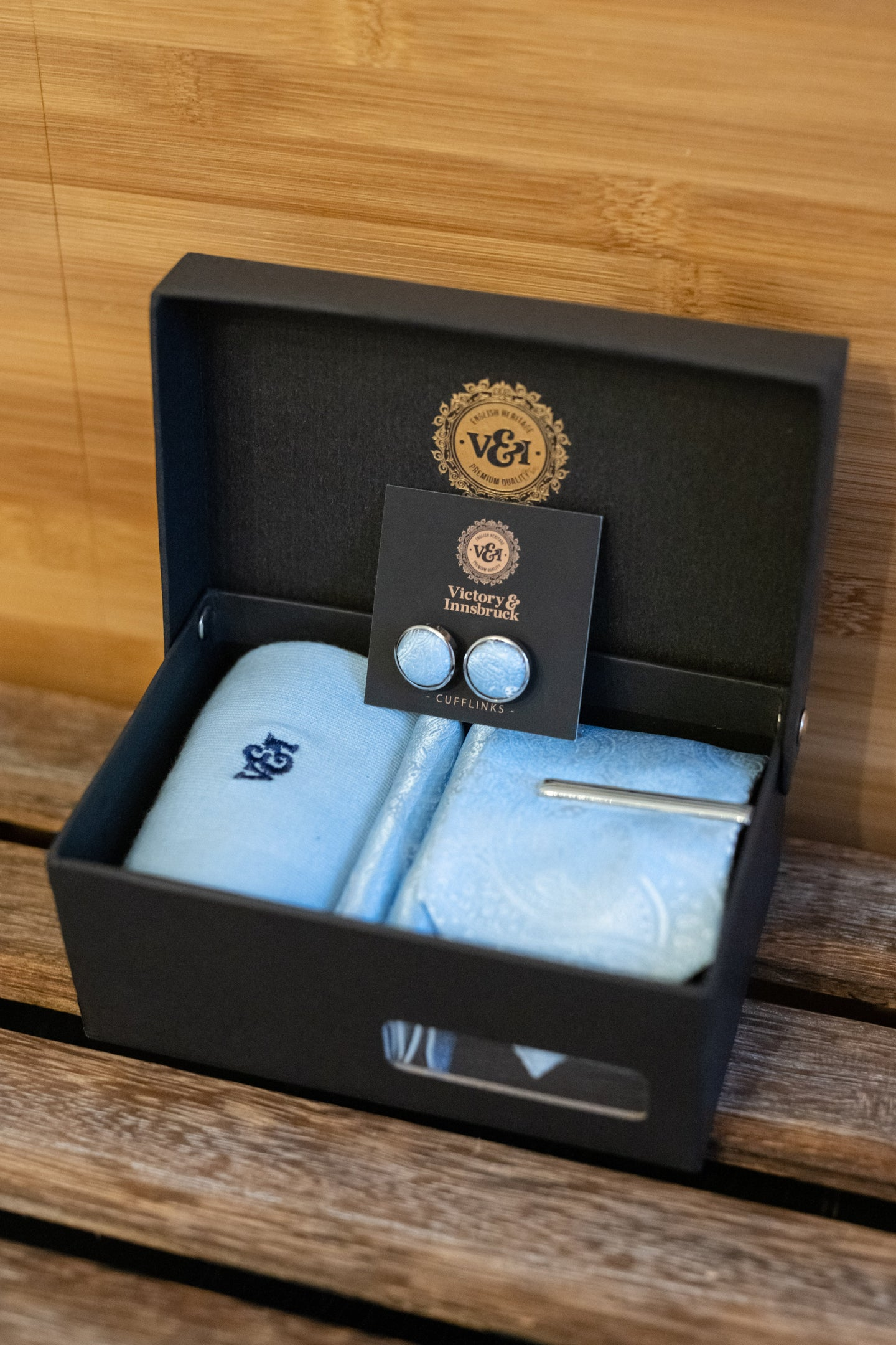 Victory & Innsbruck Light Blue Paisley Tie Box Set