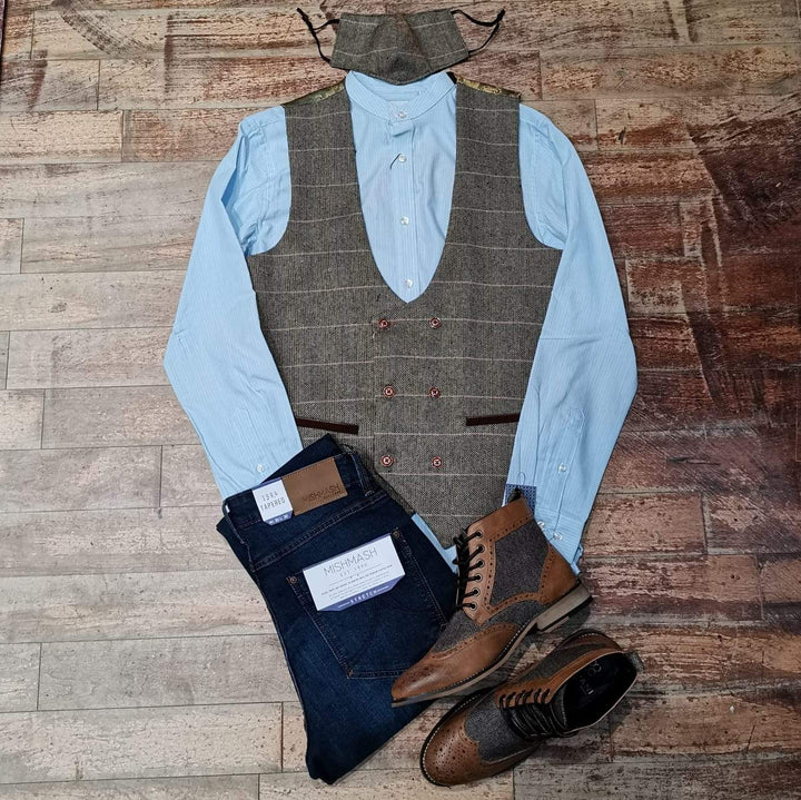 Waistcoat Smart Casual Look marc-darcy-ted-tweed-herringbone-check-double-breasted-tan-waistcoat / skopes-blue-cotton-stripe-grandad-shirt / mish-mash-1984-reece-mid-denim-tapered-fit-jeans