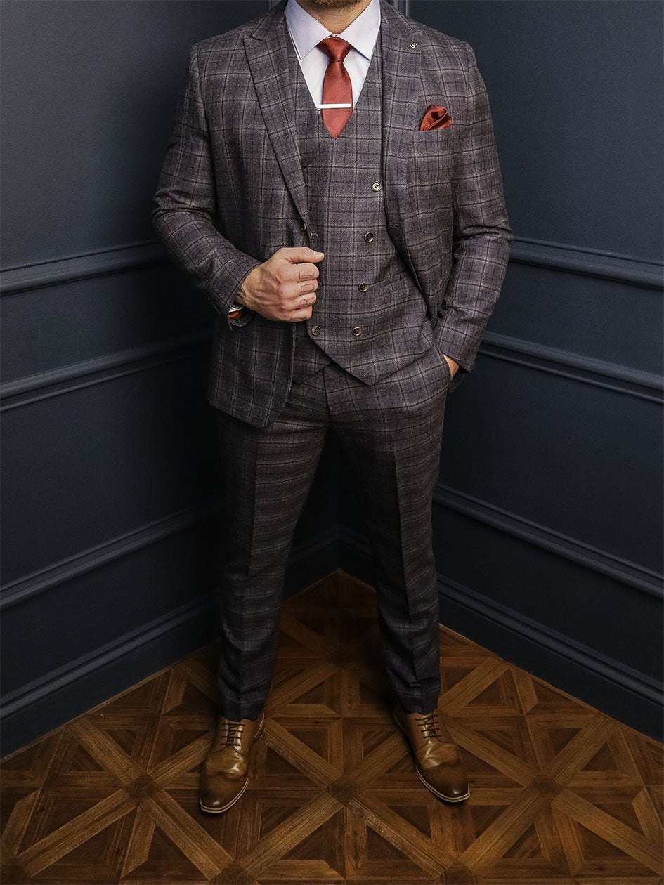 Watson 3 Piece Smart Look master-debonair-watson-navy-and-tan-check-tweed-blazer / master-debonair-watson-navy-and-tan-check-tweed-waistcoat / master-debonair-watson-navy-and-tan-check-tweed-trousers