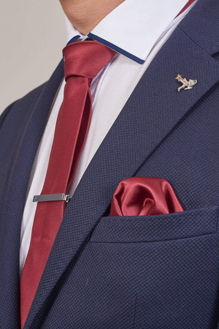 Wine Plain Tie, Pocket Square & Tie Clip Set Wine