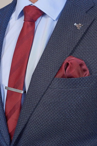 Wine Stripe Tie, Pocket Square & Tie Clip Set Wine