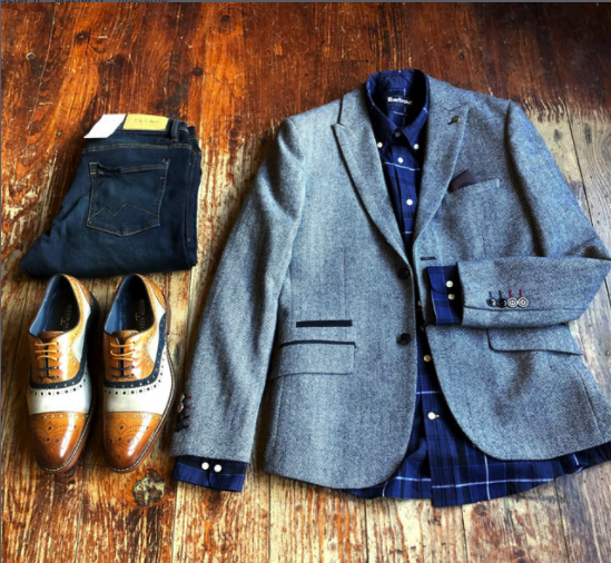 Work Day Smart Casual Look barbour-sandwood-inky-blue-cotton-check-shirt / master-debonair-bruce-grey-herringbone-tweed-blazer / blend-twister-dark-wash-slim-fit-jeans