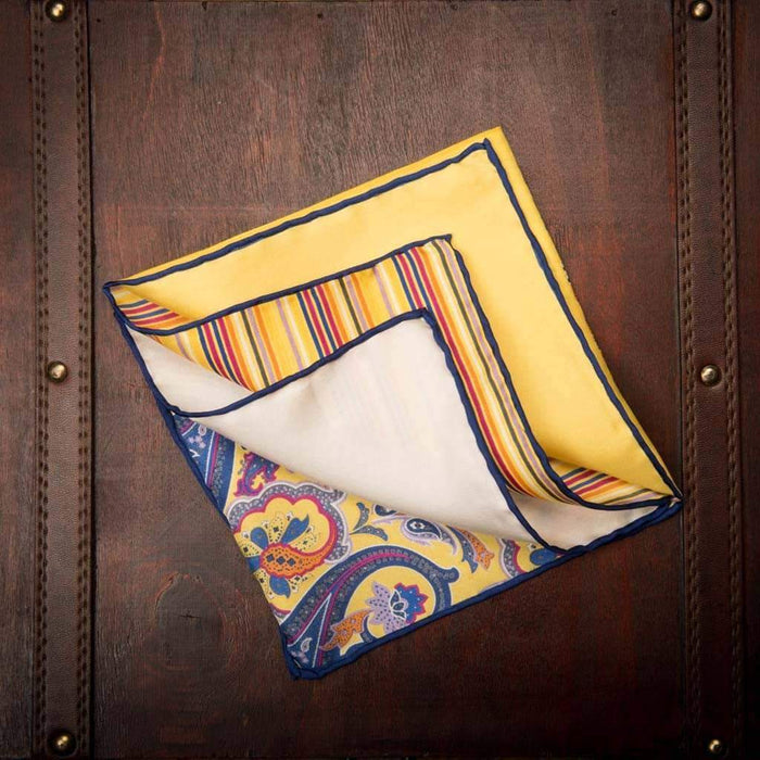Yellow and blue Paisley silk Pocket Square