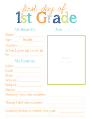 1st Grade All About Me