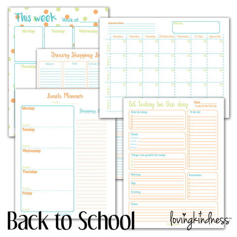 Back to School Planning Packet