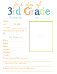 3rd Grade All About Me