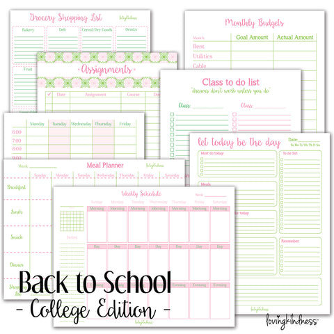 Back to School Organization Planners and Calendars - College Edition!