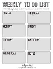 Weekly To Do List Grid