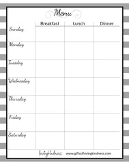 Simple Lovingkindness Menu Grid