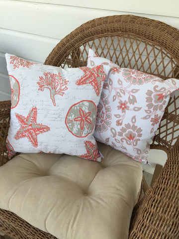 Shell Writing Coral Pillow