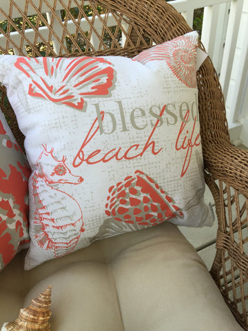 Blessed Beach Life Coral Pillow