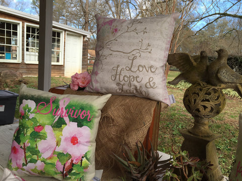 Love Hope & Faith Patchwork Pillow