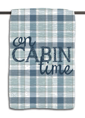 On Cabin Time Plaid Woodgrain Towel