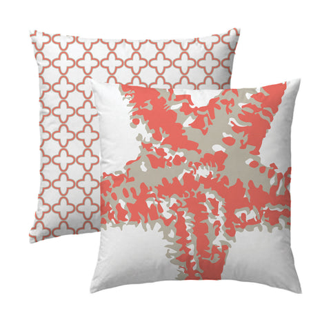 Starfish Clover Patterned Diamond Pillow