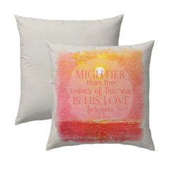 Psalm 93.4 Coral Coastal Sunset Pillow