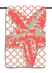 Starfish Silhouette Coral Clover Diamond Towel
