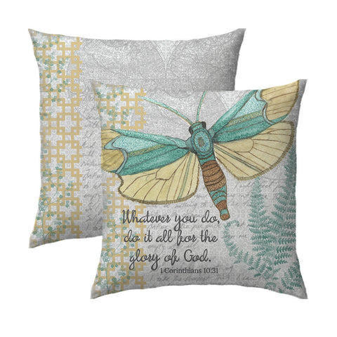 Aqua & Grey Butterfly Pillow