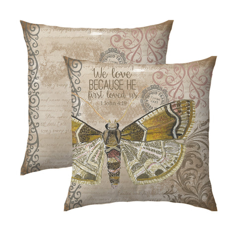 Neutral Butterfly Pillow | 1 John 4.19