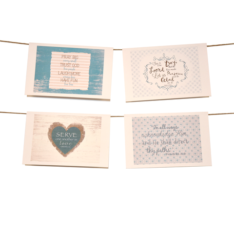 Words of Faith & Inspiration Stationery Set of 8 - Blue