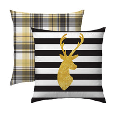 Deer Profile in Gold on Black Pillow