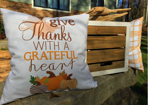 Grateful Heart Speckle Fall Check Pillow