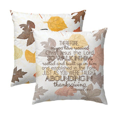 Fall Leaves Pillow | Colossians 2:6-7