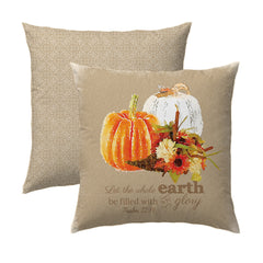 Psalm 72.19 Pumpkins - Taupe Medallion Pillow