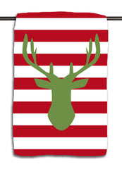 Holiday Deer Silhouette Green on Red Towel