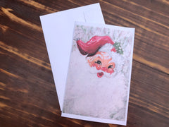 HOLLY JOLLY SANTA - Set of 4 note cards - 5-1/2 x 8-1/2 - Envelopes Included