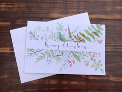 Merry Christmas Stationery - Set of 4 note cards - 5-1/2 x 8-1/2 - Envelopes Included