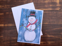 Snowman Stationery  - Set of 4 note cards - 5-1/2 x 8-1/2 - Envelopes Included