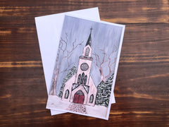 Christmas Church Card Set - Set of 4 note cards - 5-1/2 x 8-1/2 - Envelopes Included