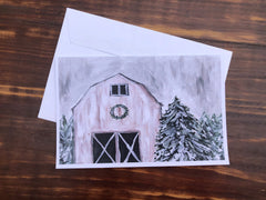 Weathered Winter Barn Card Set - Set of 4 note cards - 5-1/2 x 8-1/2 - Envelopes Included