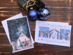 Away in a Manger Nativity Scene - Set of 8 note cards - 5-1/2 x 8-1/2 - Envelopes Included