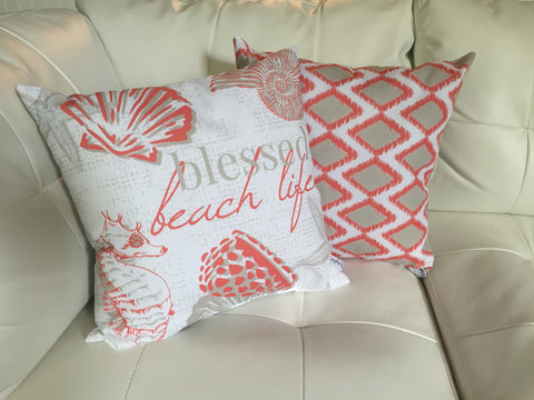 Paisley Ikat Coral Pillow