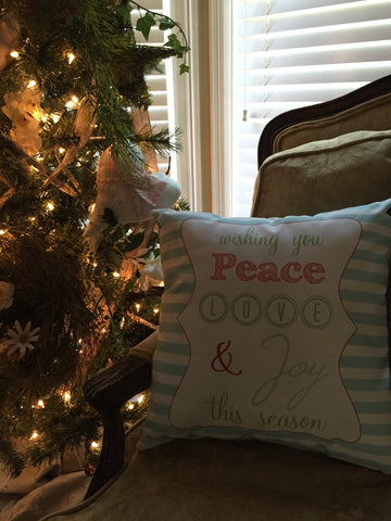 Peace, Love & Joy Aqua Blue Stripe Pillow