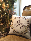 Joy Elegant Wreath Pillow
