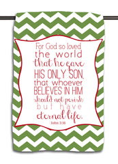John 3.16 Green Chevron Towel