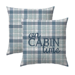 On Cabin Time Plaid Woodgrain Pillow