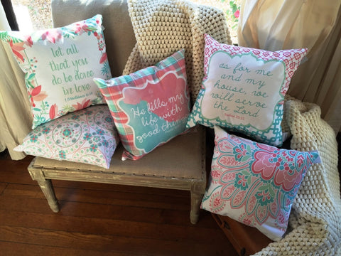 Let All You Do Be Done in Love Pillow | 1 Corinthians 16.14 | Pretty in Pink
