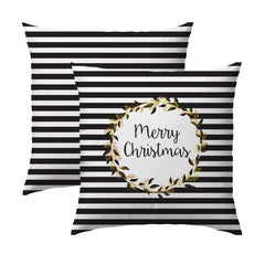Merry Christmas Stripe & Wreath Pillow