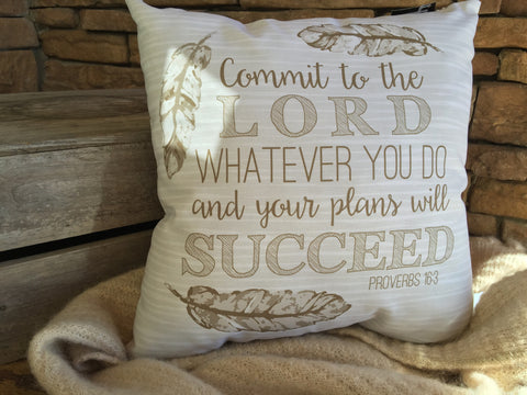 Proverbs 16.3 Tribal Pillow