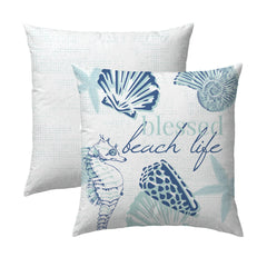 Blessed Beach Life Navy Pillow