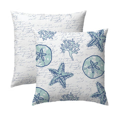 Shell Writing Navy Pillow
