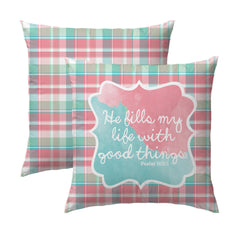 Psalm 103.5 Plaid Pillow